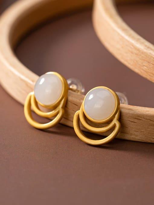 White jade (a pair) 925 Sterling Silver Jade Geometric Vintage Stud Earring