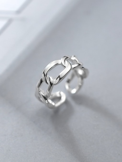 Rosh 925 Sterling Silver Hollow Geometric Minimalist Band Ring 2