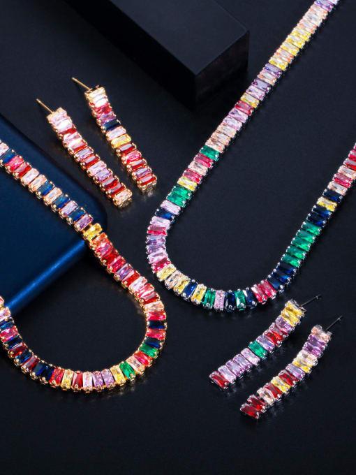 L.WIN Brass Cubic Zirconia  Luxury Tassel Earring and Necklace Set 2