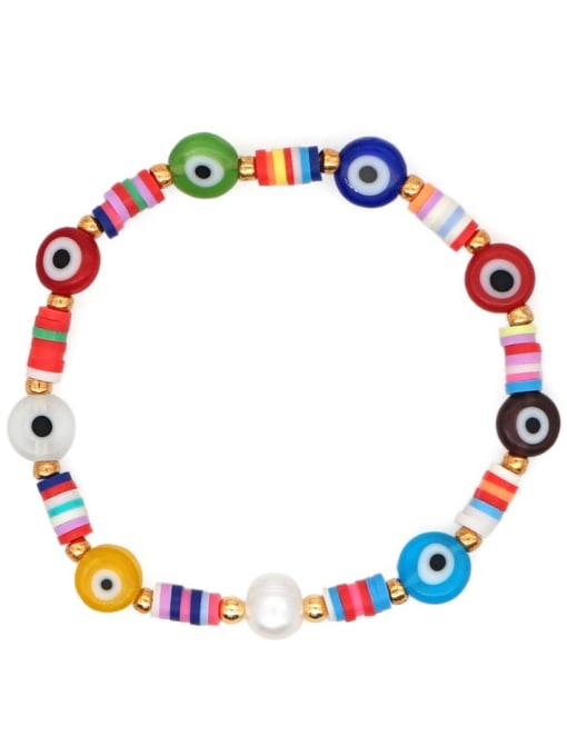 Roxi Stainless steel Glass Bead Multi Color Evil Eye Bohemia Handmade Weave Bracelet 3