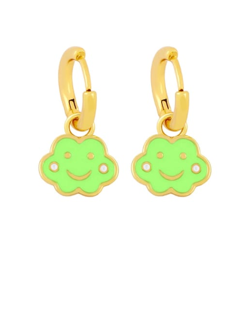 green Brass Enamel Cloud Hip Hop Huggie Earring