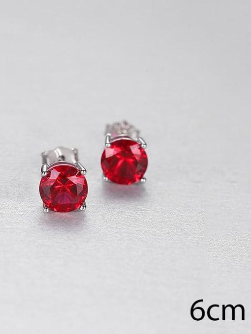 red 0.6 23j02 925 Sterling Silver Cloisonne Geometric Minimalist Stud Earring