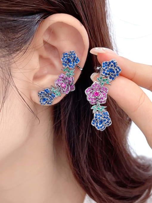Luxu Brass Cubic Zirconia Flower Ethnic Clip Earring 1