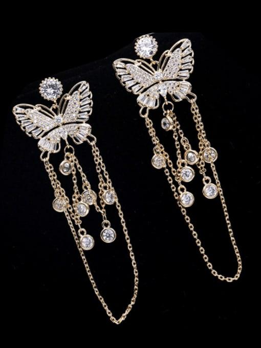 Golden+ white zirconium Brass Cubic Zirconia Butterfly Ethnic Drop Earring