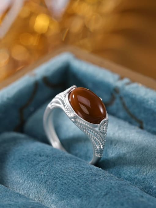 DEER 925 Sterling Silver Carnelian Geometric Vintage Band Ring