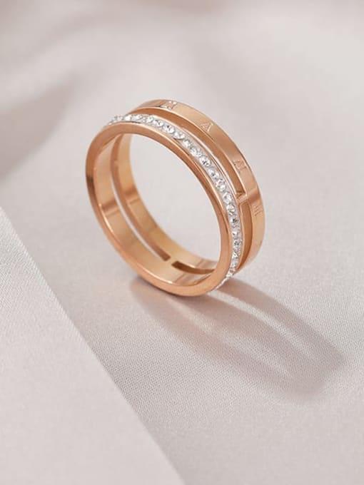 MIYA Titanium Steel Rhinestone Round Minimalist Stackable Ring 3