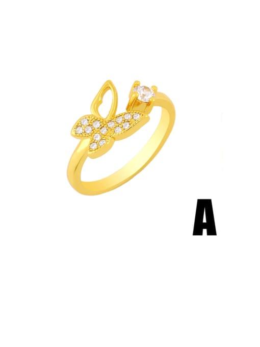 CC Brass Rhinestone Minimalist Double Cross Stackable Ring 2