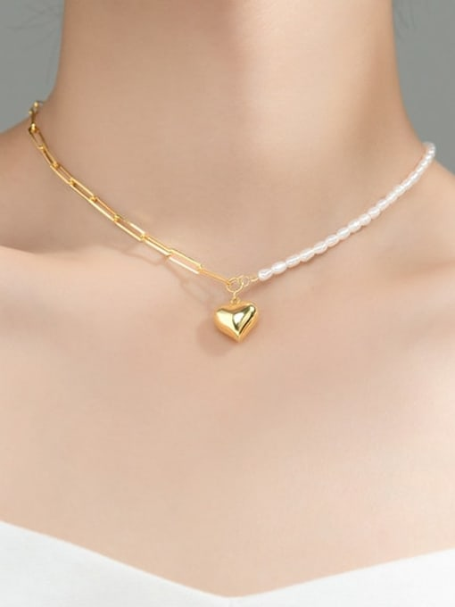 Rosh 925 Sterling Silver Imitation Pearl Heart Minimalist  Asymmetry Chain Necklace 3