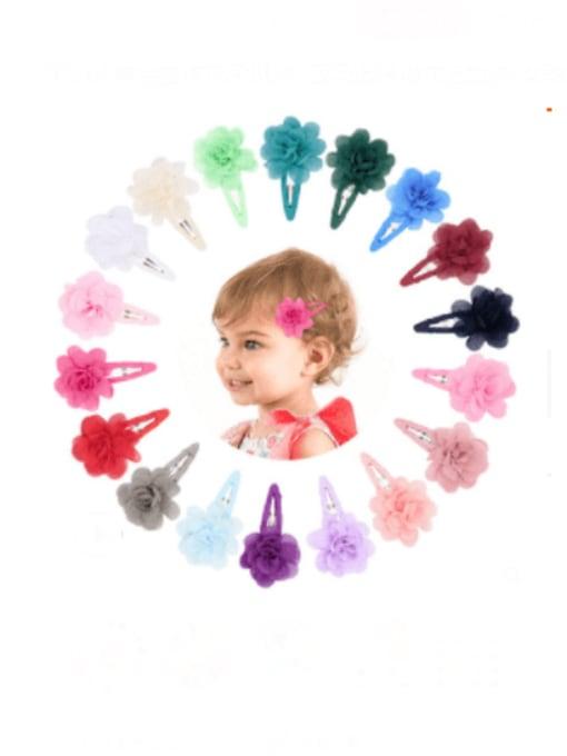 YOKI KIDS Alloy Yarn Minimalist Flower  Multi Color Hair Barrette 1
