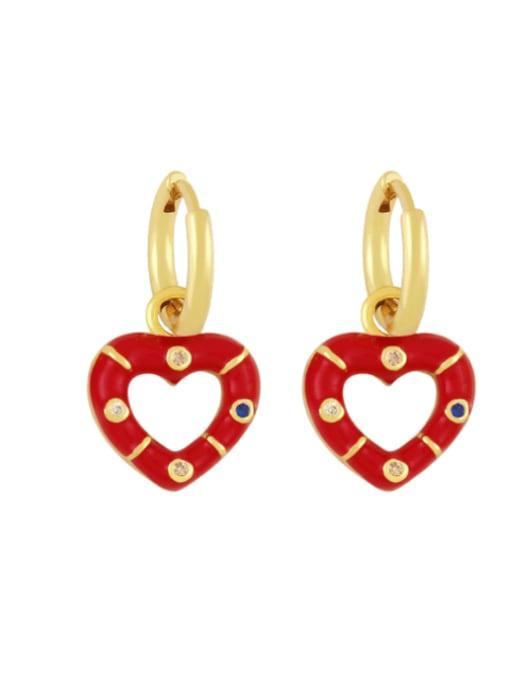 rose gold Brass Enamel Heart Vintage Huggie Earring