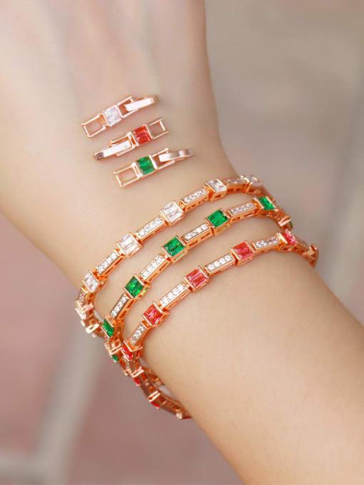 L.WIN Brass Cubic Zirconia Geometric Dainty Bracelet 0