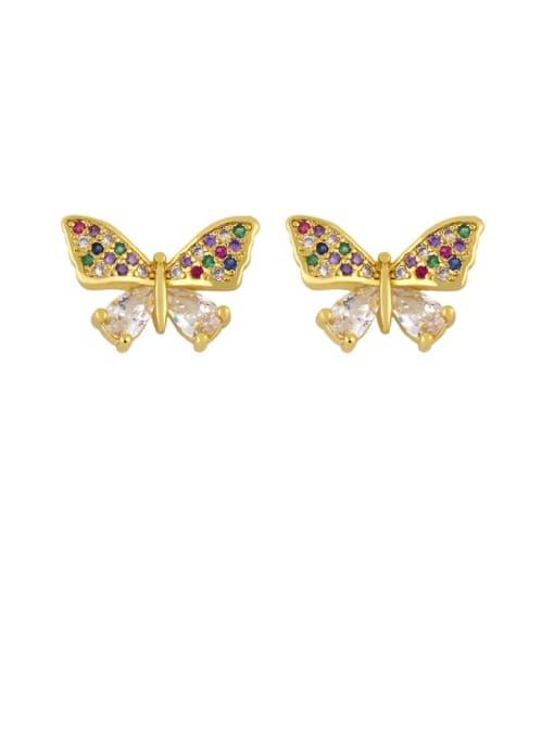 CC Brass Cubic Zirconia Butterfly Dainty Stud Earring 4