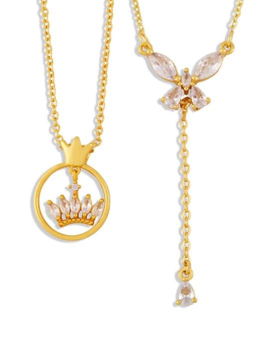 CC Brass Cubic Zirconia Crown Butterfly Hip Hop Tassel Necklace