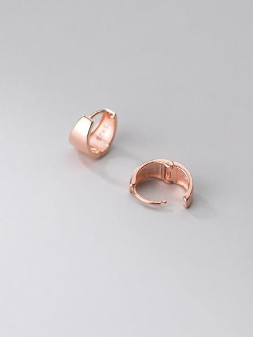rose gold 925 Sterling Silver Geometric Minimalist Huggie Earring
