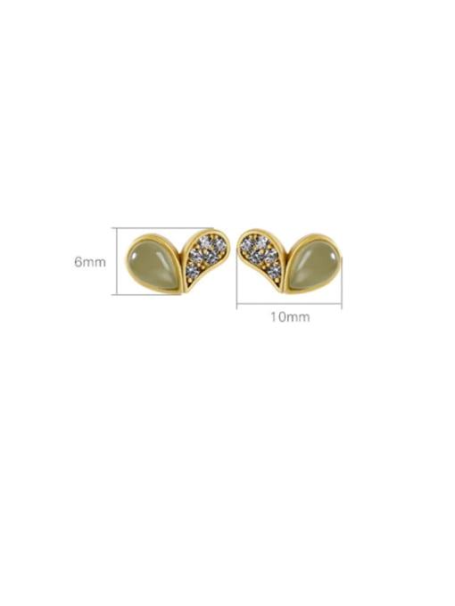 DEER 925 Sterling Silver Jade Heart Vintage Stud Earring 3