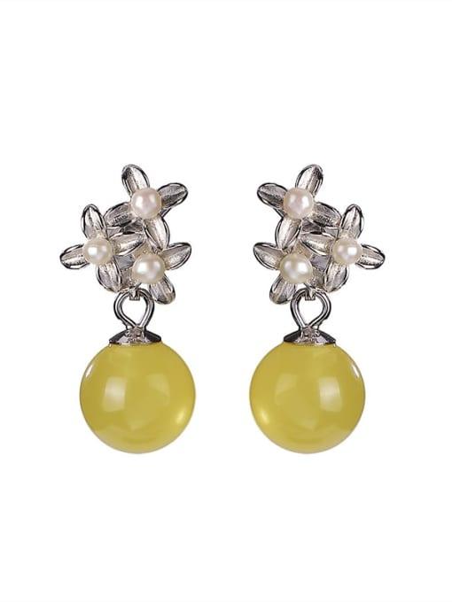 DEER 925 Sterling Silver Opal Flower Vintage Drop Earring