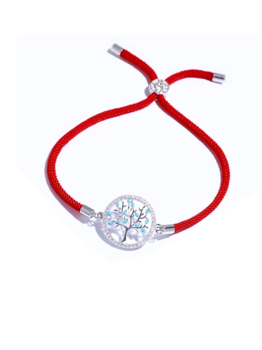 Red rope Silver Brass Cubic Zirconia Tree Vintage Adjustable Bracelet