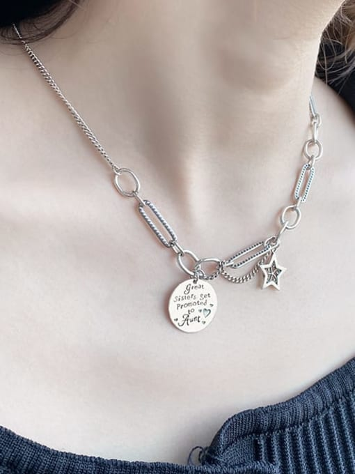 XBOX 925 Sterling Silver Hollow Star Vintage Necklace 1