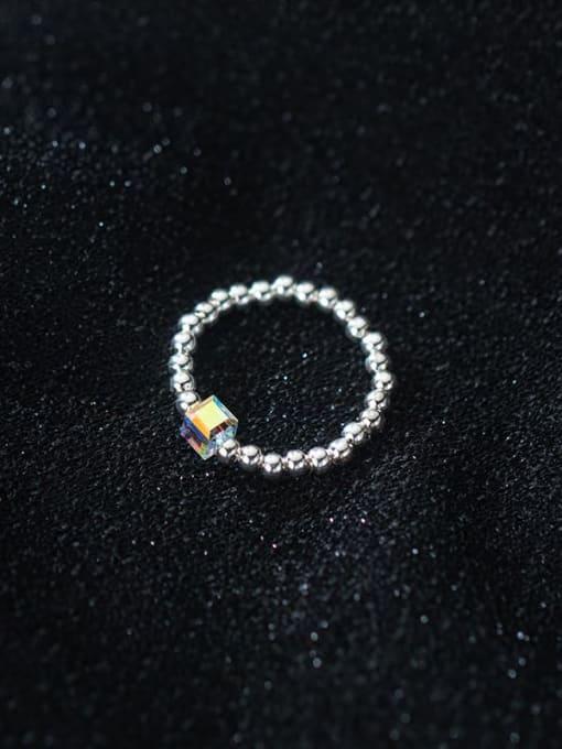 Rosh 925 Sterling Silver Bead Geometric Minimalist Band Ring 1