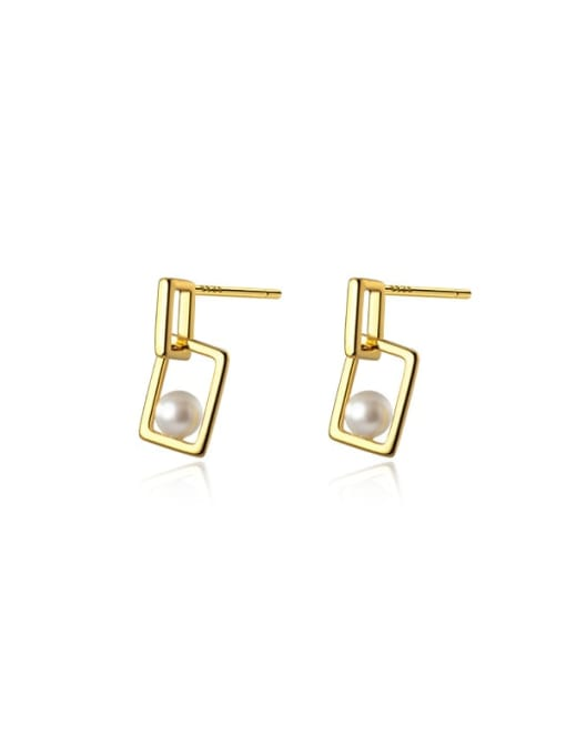 Rosh 925 Sterling Silver Imitation Pearl Geometric Minimalist Drop Earring 2