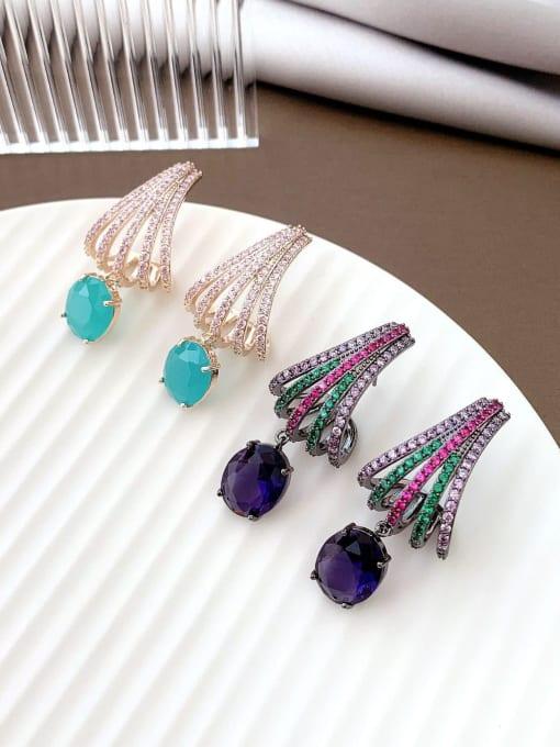 Luxu Brass Cubic Zirconia Irregular Trend Drop Earring 2