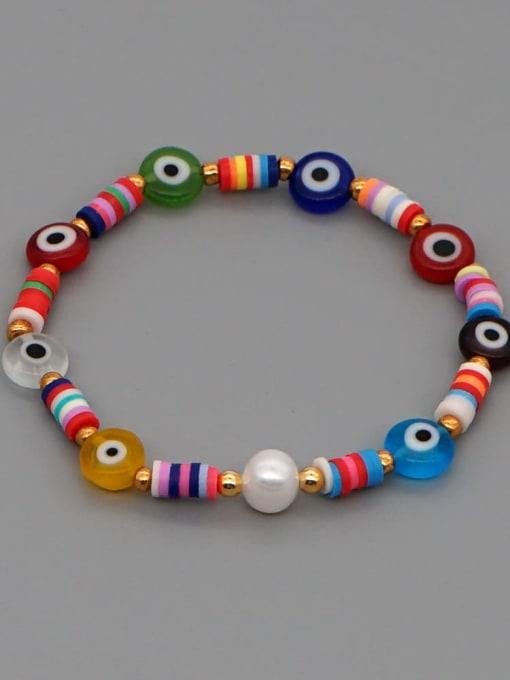ZZ B200092A Stainless steel Glass Bead Multi Color Evil Eye Bohemia Handmade Weave Bracelet