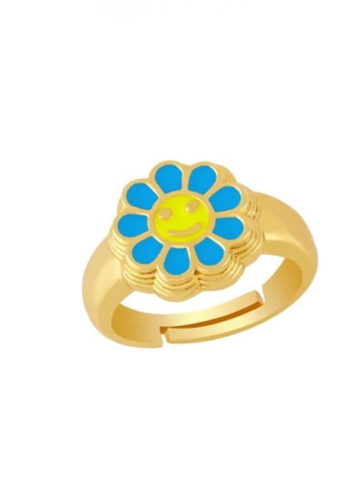 blue Brass Enamel Smiley Vintage Band Ring