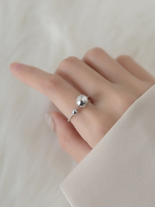 Rosh 925 Sterling Silver Bead Round Minimalist Band Ring 2