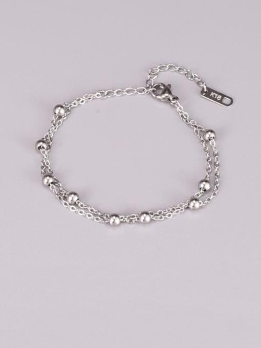 A TEEM Titanium Steel Ball Minimalist Strand Bracelet 0