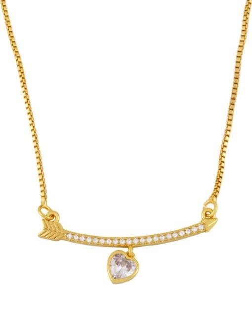 Peach heart Brass Cubic Zirconia Heart Cute  Boy Girl Pendant Necklace