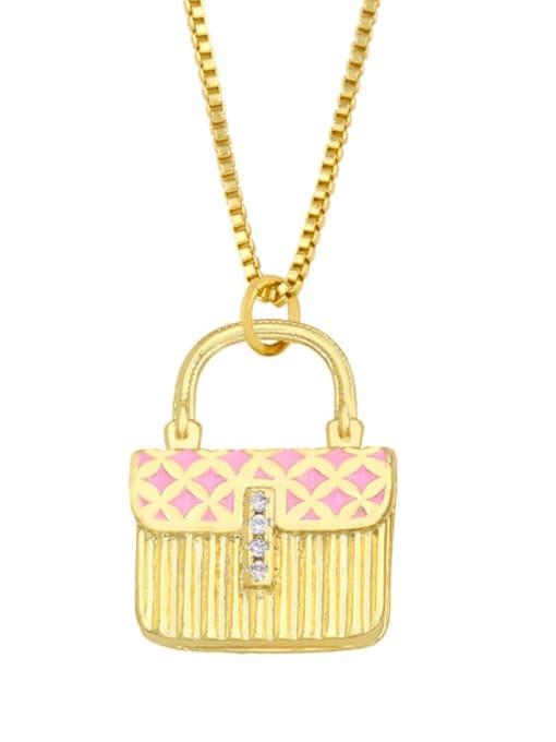 Pink Brass Cubic Zirconia Enamel Geometric Minimalist Necklace