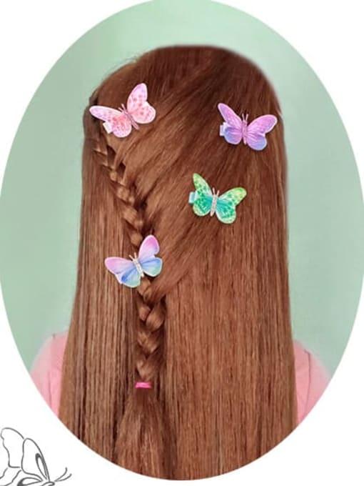 YOKI KIDS Alloy Fabric Cute Butterfly  Multi Color Hair Barrette 1