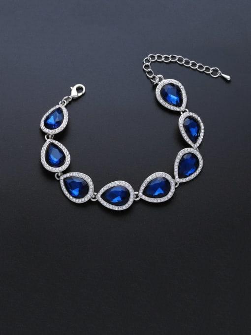 Silvery blue Brass Glass Stone Water Drop Luxury Bracelet