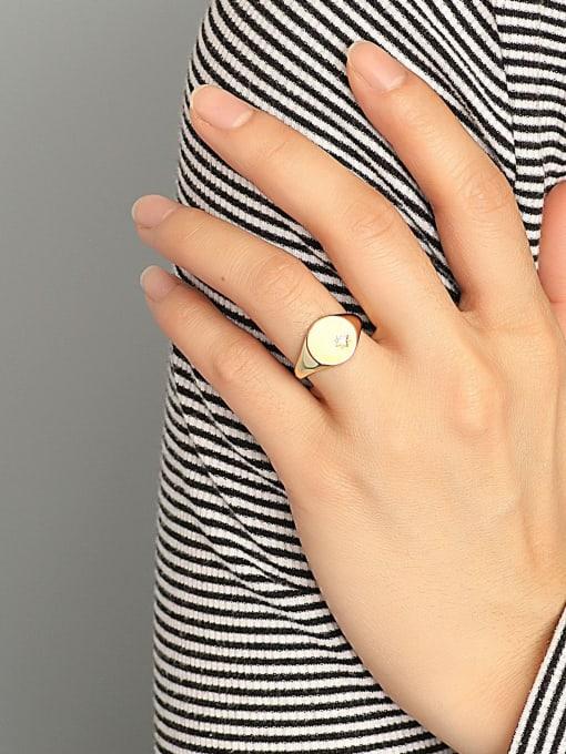 CHARME Brass Rhinestone Geometric Minimalist Band Ring 2