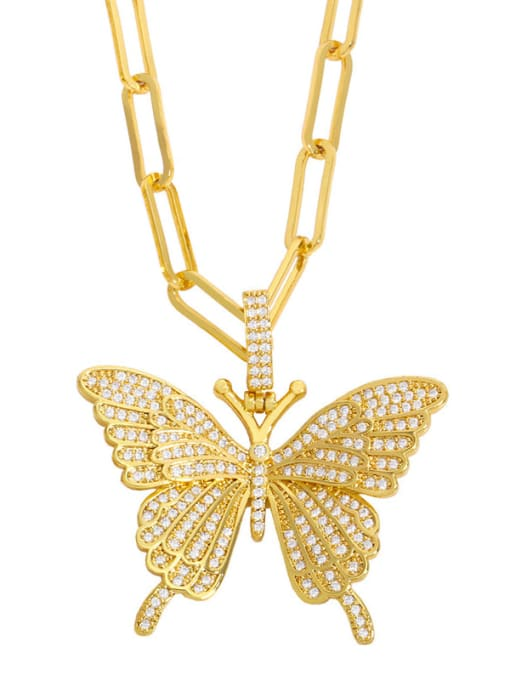CC Brass Cubic Zirconia Butterfly Ethnic Necklace 1