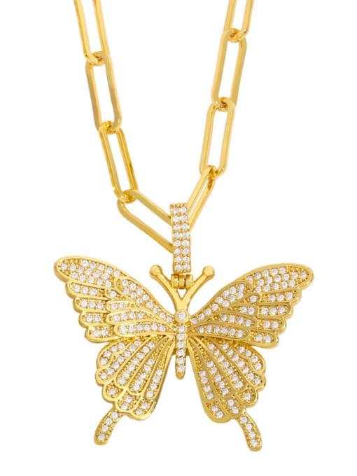 White zirconium Brass Cubic Zirconia Butterfly Ethnic Necklace