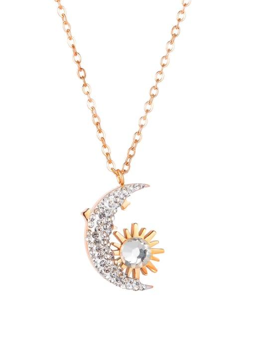 1850 rose gold plated necklace Titanium Steel Cubic Zirconia Geometric Vintage Necklace