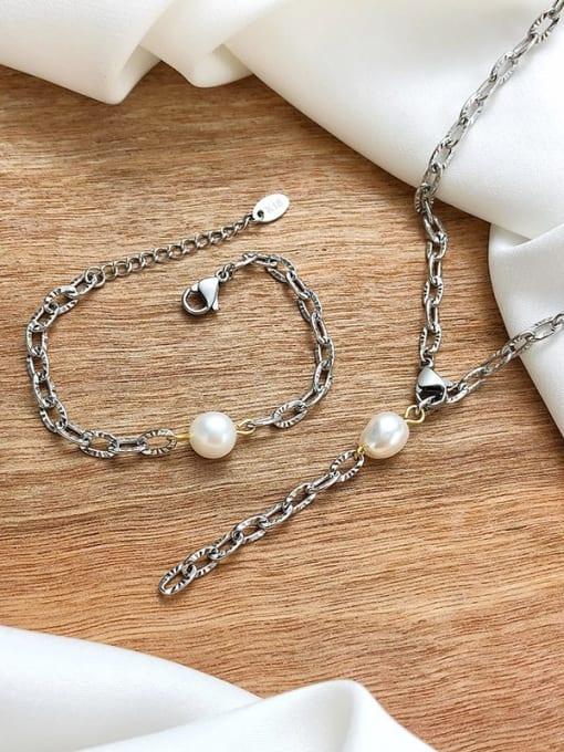 CONG Titanium Steel Imitation Pearl Minimalist Tassel Necklace 1
