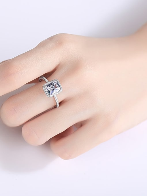 CCUI 925 Sterling Silver Cubic Zirconia Geometric Minimalist Band Ring 1
