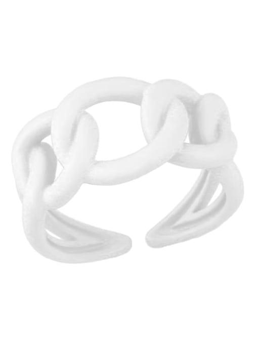 white Brass Enamel Hollow Geometric Minimalist Band Ring