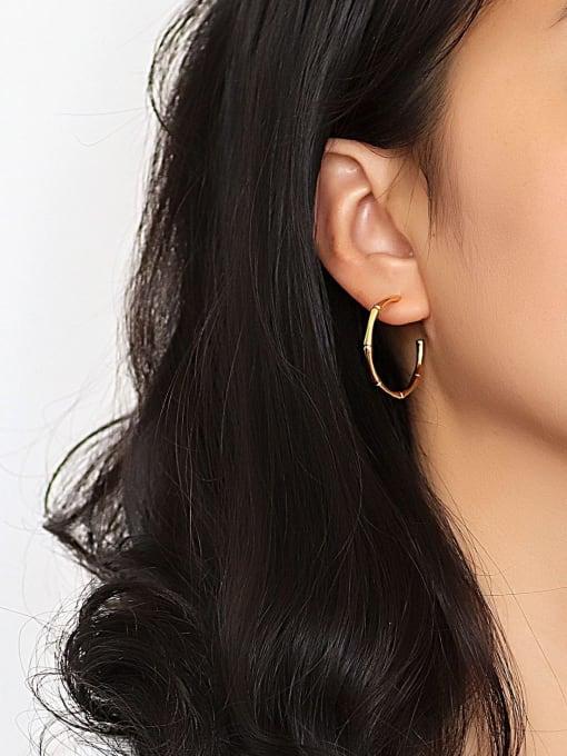 CHARME Brass Geometric Minimalist Hoop Earring 2