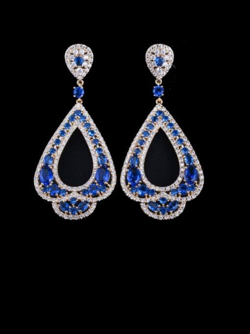 Golden Blue Brass Cubic Zirconia Water Drop Luxury Drop Earring