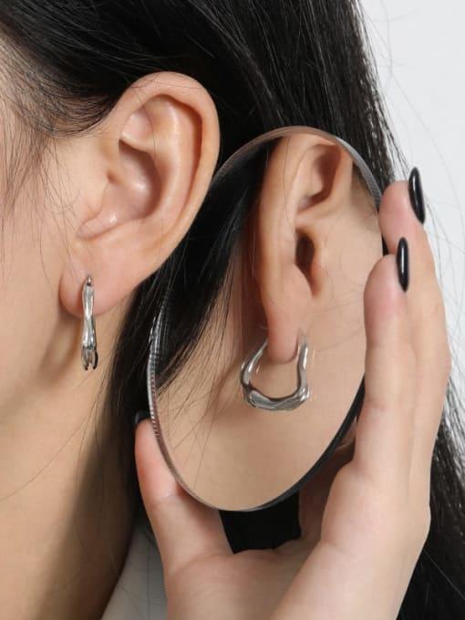 DAKA 925 Sterling Silver Geometric Vintage Huggie Earring 2