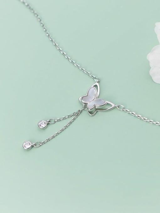 Rosh 925 Sterling Silver Tassel Minimalist Shell  butterfly Lariat Necklace 3