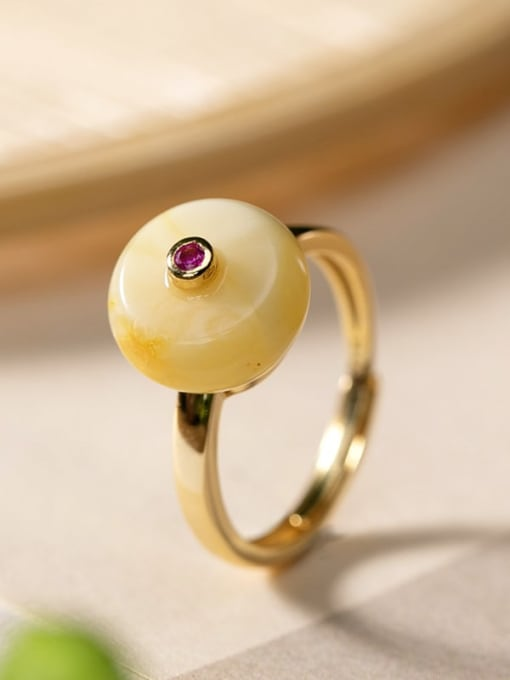 DEER 925 Sterling Silver Amber Round Ethnic Band Ring