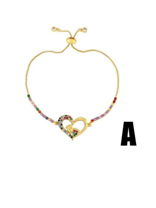 CC Brass Cubic Zirconia Letter Vintage Bracelet