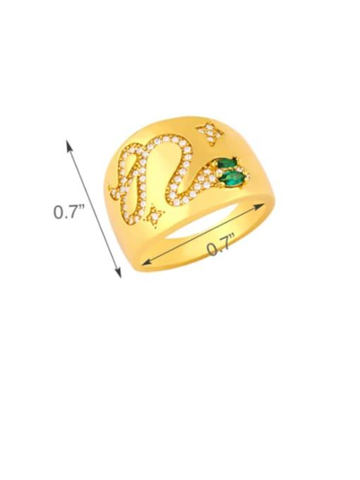 CC Copper Rhinestone Snake Vintage Ring 2