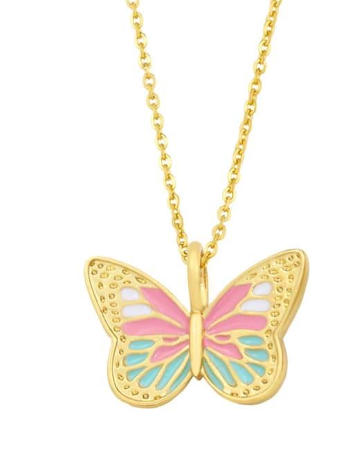 B (pink) Brass Enamel Butterfly Minimalist Necklace