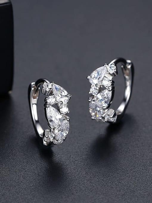 Rh 24J06 925 Sterling Silver Cubic Zirconia Geometric Trend Huggie Earring