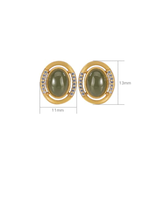 DEER 925 Sterling Silver Jade Oval Vintage Stud Earring 4